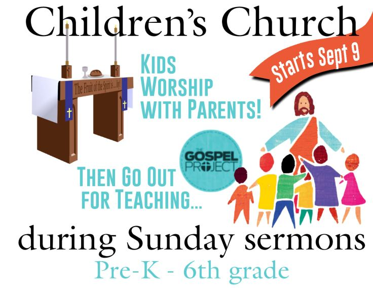 Children's Church Starts Sept 9 red