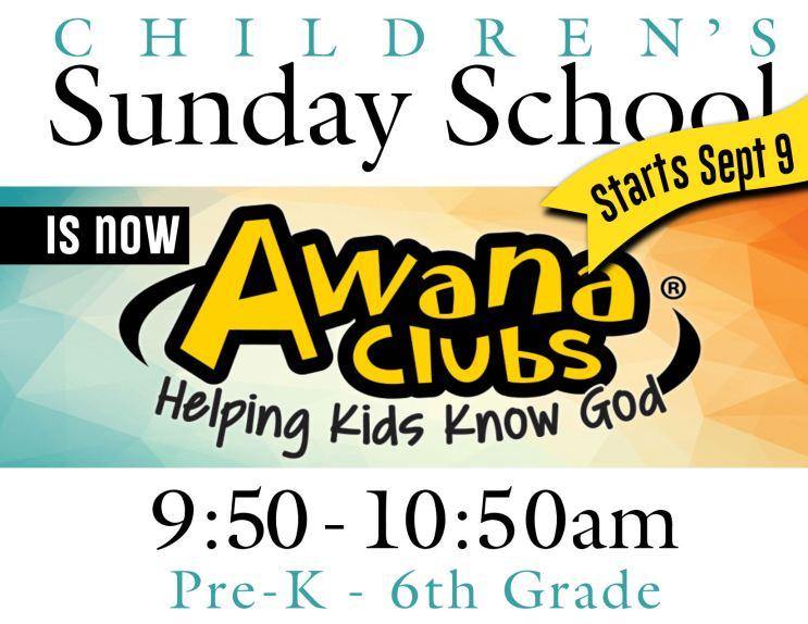 Sunday School starts Sept 9